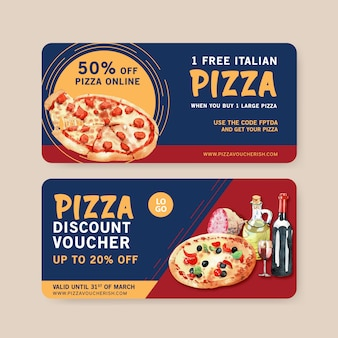 Pizza voucher design with cheese, sausage, olive water illustration