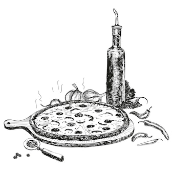 Pizza with bottle of garlic oil drawing
