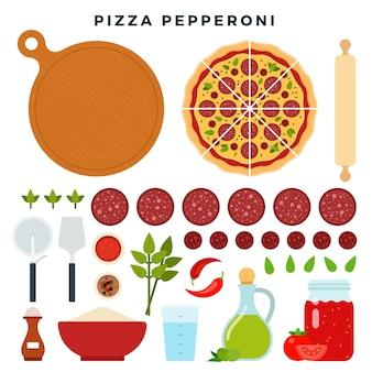 Пицца с классическими итальянскими колбасками пепперони и всеми ингредиентами для ее приготовления