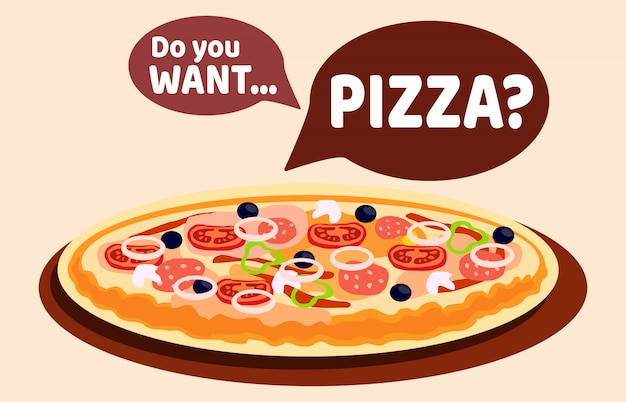 Pizza with different flavours vector web banner