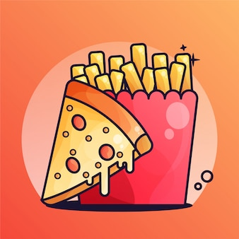 Pizza with french fries gradient illustration
