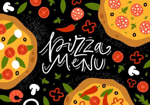 新鮮な食材を使ったピザ、上面図。イタリアンフードメニューデザインテンプレートです。図