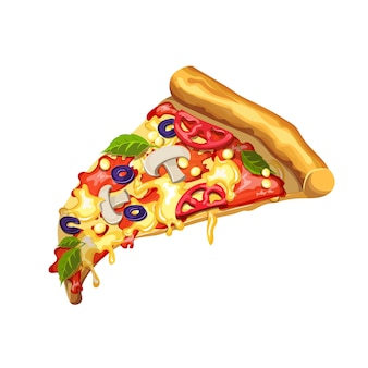 Pizza with mushrooms, tomato paste, cheese, tomato, corn, cheese and olives. slice of pizza on a white background.  drawing