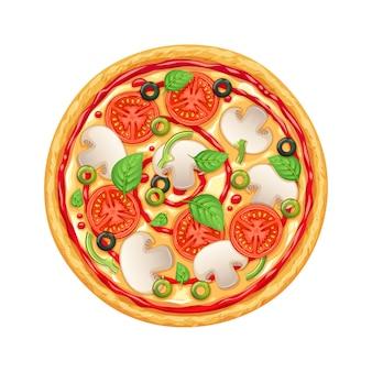 Пицца с пепперони, моцареллой и помидорами.