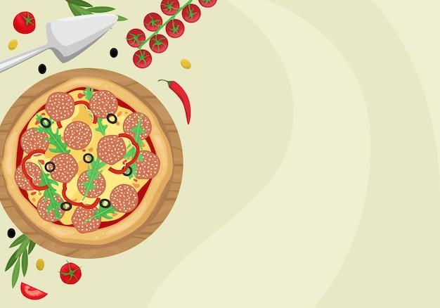 段ボール箱にサラミ、オリーブ、チーズのピザ。上からの眺め。テキスト用のスペースを持つテンプレート。