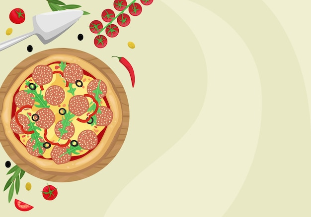 Pizza with salami, olives and cheese in a cardboard box. the view from the top.  template with space for text.
