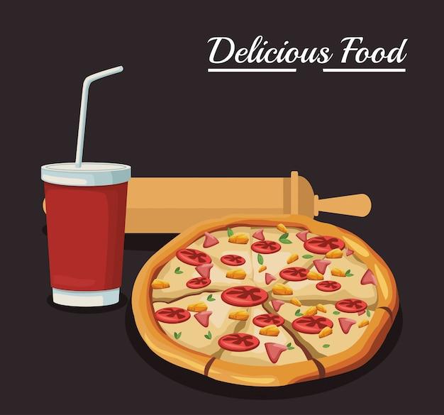청량 음료와 롤링 핀기구가있는 피자