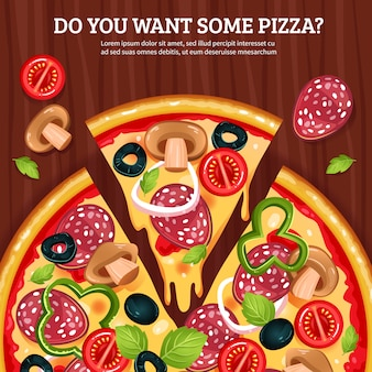 Pizza on wooden board background