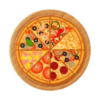 Pizza on wooden plate.