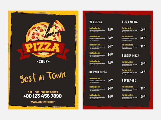 Дизайн картой pizza с представлением передней и задней страницы