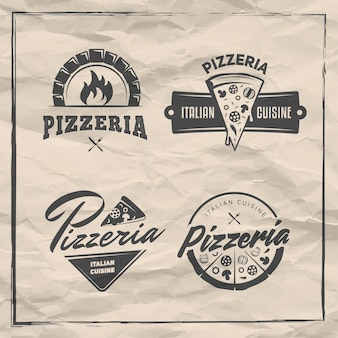 Pizzeria badges set of pizza logos with whole pizzas and slices labels for trattoria or pizzeria