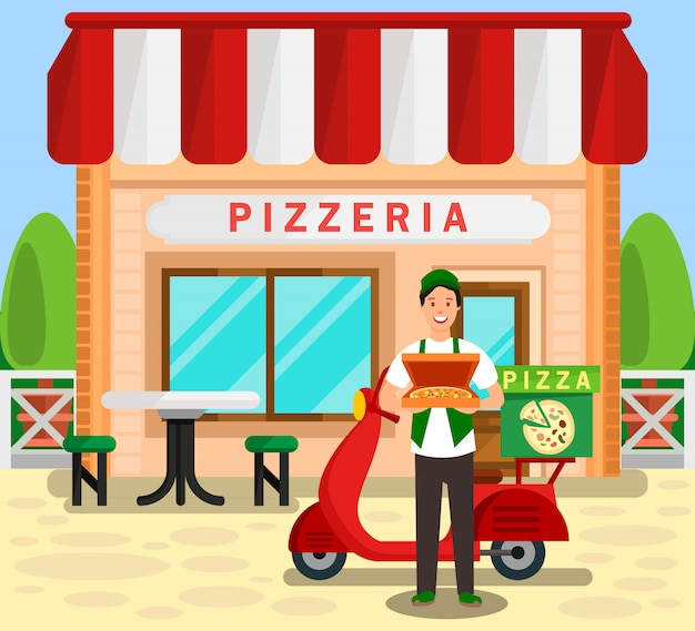 Pizzeria, bakery delivery service illustration