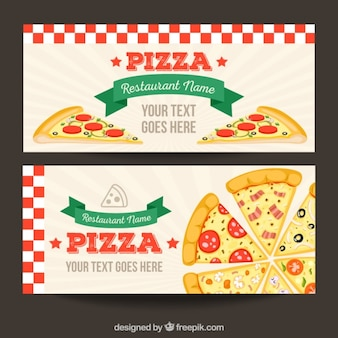 Pizzeria banners in vintage style