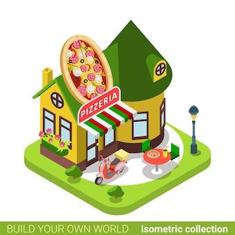 피자 가게 카페 레스토랑 상점 피자 모양 건물 부동산 부동산 개념.