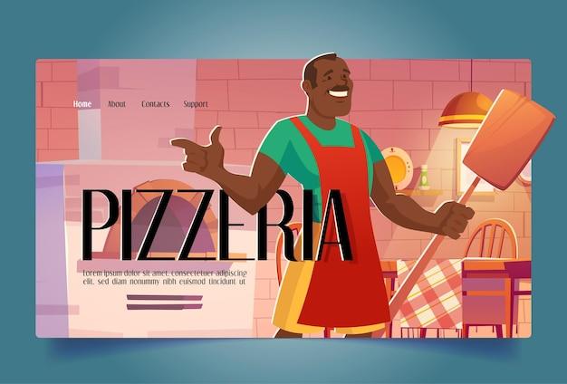 Promozione di apertura del ristorante di atterraggio dei cartoni animati della pizzeria