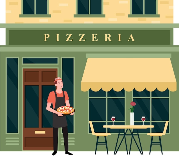 Иллюстрация фасада городской улицы пиццерии.