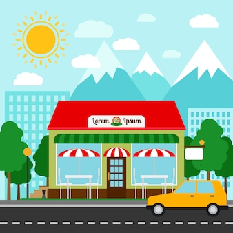 Pizzeria colorful vector illustration. pizza house store front with mountains and city