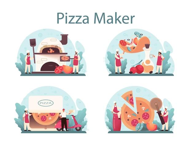 피자 가게 개념을 설정합니다. 맛있는 맛있는 피자를 요리하는 요리사. 이탈리아 음식. 살라미와 모짜렐라 치즈, 토마토 슬라이스. 외딴