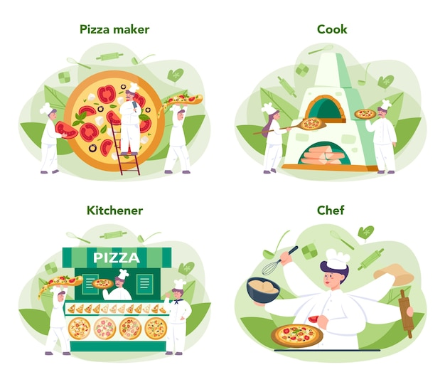 피자 가게 개념을 설정합니다. 맛있는 맛있는 피자를 요리하는 요리사. 이탈리아 음식. 살라미와 모짜렐라 치즈, 토마토 슬라이스.