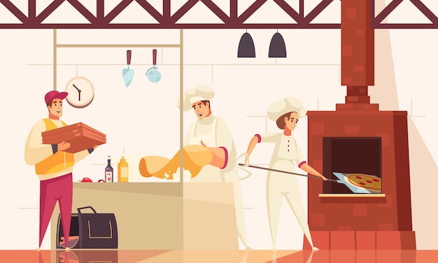 Pizzeria flat composition with chefs bake pizza in oven at the kitchen and gives the order to courier vector illustration