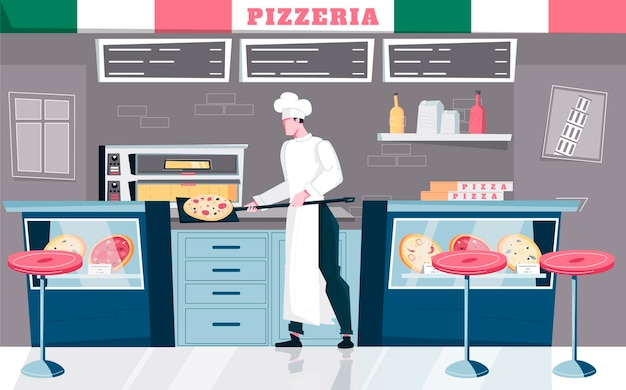 Pizzeria flat composition with indoor view of restaurant kitchen and doodle character of cook with menu