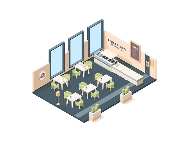 Pizzeria interior. fast food caffe restaurant buffet italian industrial office cross plan with furniture vector isometric building. cafe pizza, restaurant food pizzeria