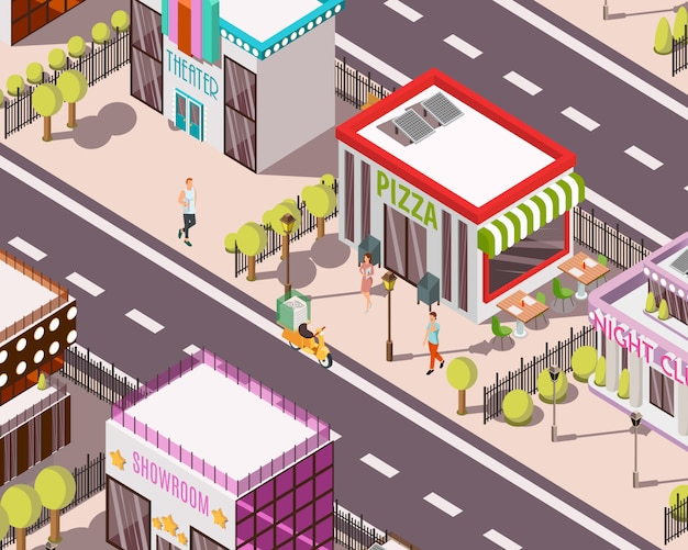 Pizzeria isometric background