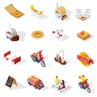 Pizzeria isometric set