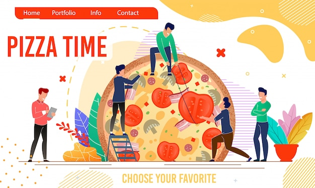 Pizzeria landing page with pizza time motivation