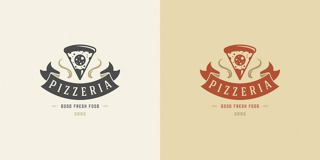Pizzeria logo illustration pizza slice silhouette set