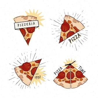 ピッツェリアのロゴタイプセット。ピザのスライスと碑文と異なるロゴのコレクション