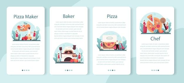 Pizzeria 모바일 응용 프로그램 배너 세트