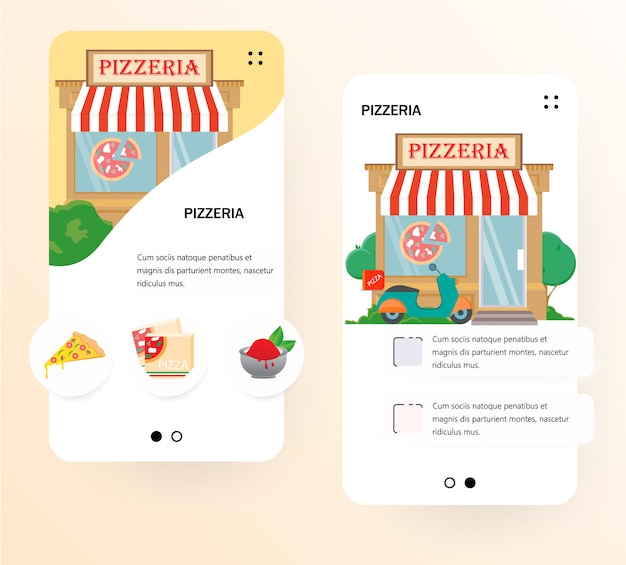 Pizzeria onboarding screen template