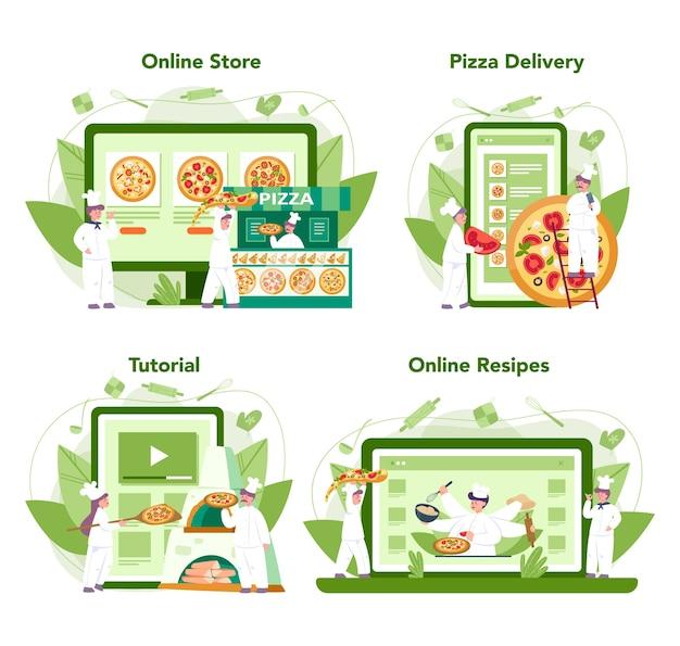 ピッツェリアオンラインサービスまたはプラットフォームセット。おいしいおいしいピザを調理するシェフ。イタリア料理。オンラインショップ、配達、レシピまたはビデオチュートリアル。漫画スタイルの孤立したベクトルイラスト