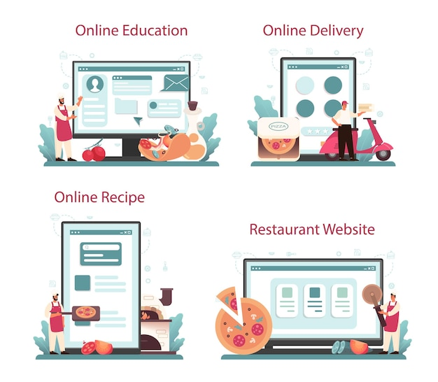 Pizzeria online service or platform set. chef cooking tasty delicious pizza. italian food. online education, delivery, recipe, website.