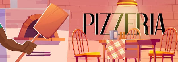 Poster pizzeria con interni accoglienti caffè con forno
