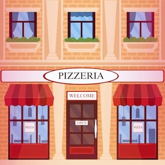 Pizzeria restaurant building in flat style