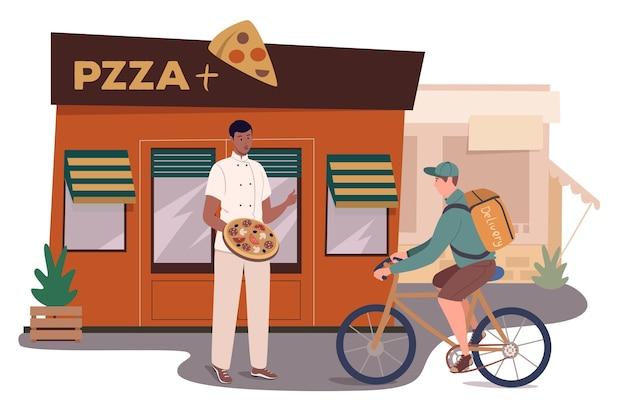 피자 레스토랑 건물 웹 개념입니다. 요리사는 입구에 서있는 피자를 만들었다. 택배가 고객 집으로 음식 주문을 배달합니다.