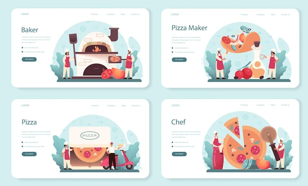 ピッツェリアのウェブバナーまたはランディングページセット。おいしいおいしいピザを調理するシェフ。イタリア料理。サラミとモッツァレラチーズ、トマトスライス。