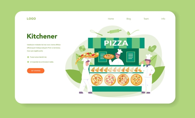 ピッツェリアのウェブバナーまたはランディングページ