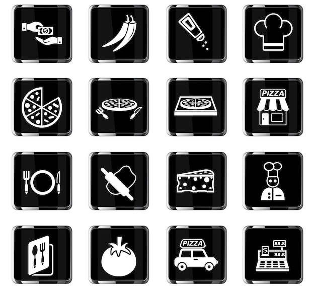 Веб-иконки пиццерии для дизайна пользовательского интерфейса