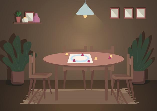 저녁 가족 레저 컬러 일러스트를위한 장소. 위의 램프가있는 보드 게임용 테이블. 연주를위한 탁상 설정. 배경에 장식으로 거실 만화 인테리어
