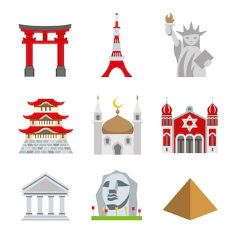 Place landmark travel world architecture vector