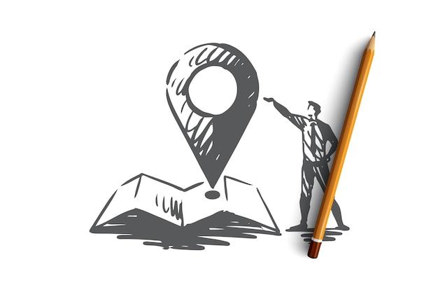 Место, знак, местоположение, булавка, концепция карты. рука нарисованные человек и символ навигации на эскизе концепции карты.