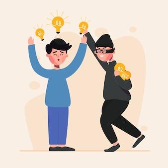 도둑으로 설명하는 표절 개념 무료 벡터