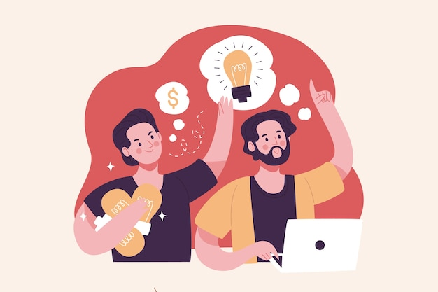 Plagiarism concept illustration with men