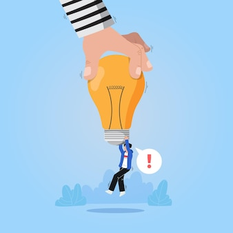 Plagiarism concept with light bulb
