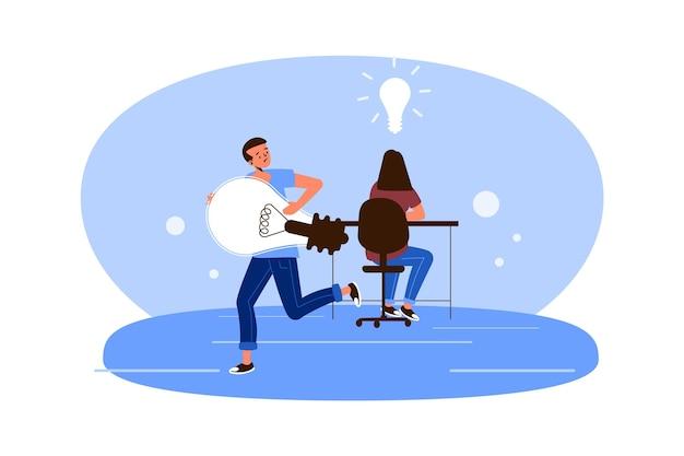人と電球との盗作の概念