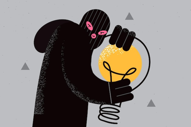 Plagiarism and thieving ideas concept. young fraud thief in black mask and clothes standing holding huge light bulb un hands vector illustration
