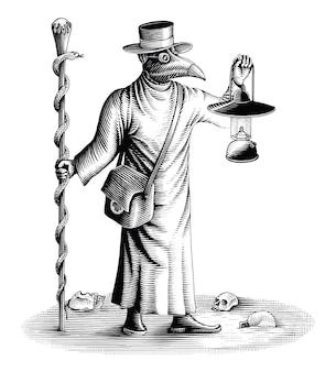 ランプと魔法の杖を持つペスト医師がヴィンテージの彫刻スタイルを描く